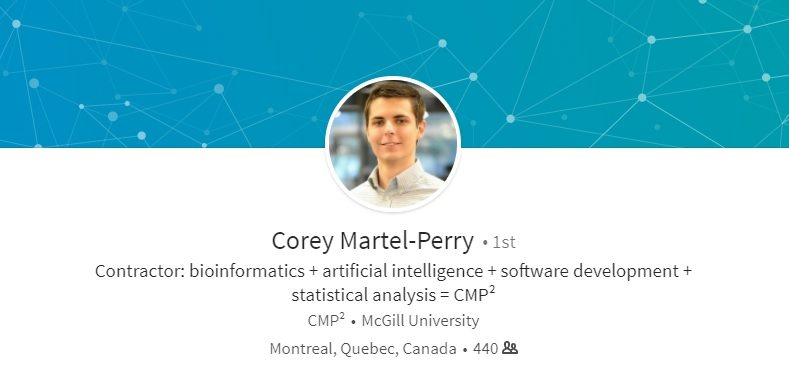 Corey Martel-Perry + bioinformatics + artificial intelligence + software development